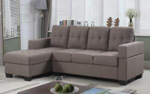 Linen Sectional with Left Side Or Right Side Chaise - Brown Left Side Chaise