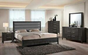 Bedroom Set with Leather Insert Head Board 8 pc - Grey King / Grey