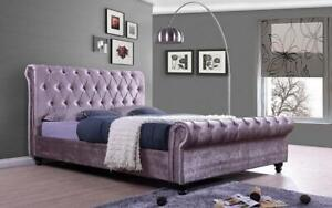 Platform Sleigh Bed with Velvet Fabric - Lavender King / Lavender / Velvet Fabric