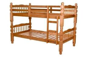 Bunk Bed - Twin over Twin Post Design Solid Wood - Honey 4 Post