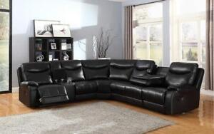 Recliner Corner Sectional - Air Leather [Black] Black