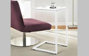 Sofa Table Glass Top with Metal Leg - Black | White White