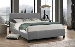 Platform Bed Linen Style Fabric with Adjustable Height - Light Grey Queen / Light Grey / Linen Style Fabric