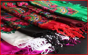 Foulards Slavic shawl scarf flower pattern fringes folk cotton vintage POLAND - <span itemprop=availableAtOrFrom>Bielsko-Biala, Polska</span> - Foulards Slavic shawl scarf flower pattern fringes folk cotton vintage POLAND - Bielsko-Biala, Polska