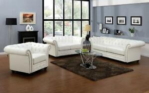 Sofa Set - 3 Piece - White White