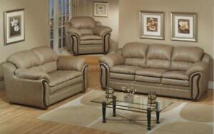 *** BRAND NEW *** HUGE SALE *** 3-PIECE SOFA SET - BONDED LEATHER (SAND)***LIMITED STOCK****