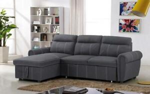 Elephant Skin Sectional Sofa Bed with Reversible Chaise - Grey Grey