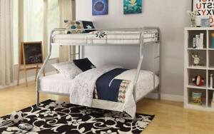 Bunk Bed - Twin over Double with Metal - Black | White | Grey Grey
