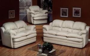 Sofa Set - 3 Piece - White 3 pc Set / White