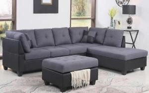 Fabric Sectional set with Chaise and Ottoman - Grey   Black Black   Grey / Right Side Chaise