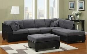 Fabric Sectional Set with Left Side Or Right Side Chaise and Ottoman - Grey | Black Right Side Chaise / Black | Grey