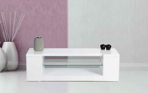 TV Stand with Glass Shelf - White White