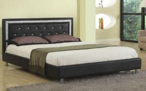 Platform Bed Bonded Leather with Jewels - Black Queen / Black / Bonded Leather