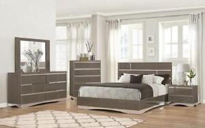 Dresser & Mirror + Chest - 10 Dresser + Mirror / Grey / Veneer & Lacquer