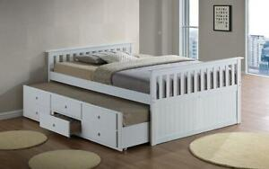 Trundle Bed with Drawers - White White / Double