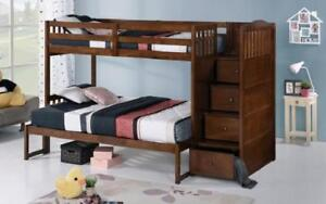 Bunk Bed - Twin over Twin or Double with Drawers, Staircase Solid Wood - Oak Oak / Twin Double