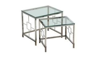 Nesting Table Set with Chrome and Glass - 2 pc Chrome