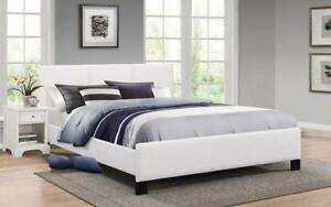 Platform Bed with Bonded Leather - White Queen / White / Bonded Leather