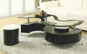Coffee Table with 2 Stools - Espresso Espresso
