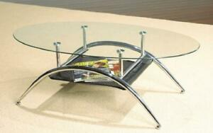 Coffee Table with Glass Top - Chrome Chrome