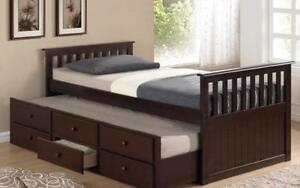 *** BRAND NEW *** HUGE SALE *** TRUNDLE BED WITH DRAWERS - ESPRESSO***LIMITED STOCK****