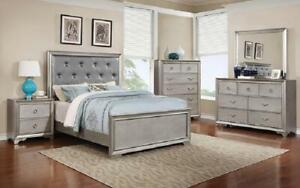 Bedroom Set with Diamond Tufted Head Board 8 pc - Silver King / Silver