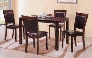 Kitchen Set with Solid Wood - 5 pc - Espresso 5 pc Set - Black Leather Chair / Espresso