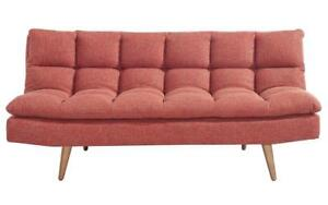 Fabric Sofa Bed with Wooden Legs - Red Red