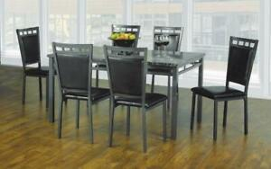 Kitchen Set with Marble Top - 5 pc or 7 pc - Espresso   Gun Metal Grey 7 pc Set / Espresso   Gun Metal Grey