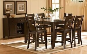 """MANGO BISTRO TABLE WITH """"BUTTERFLY"""" LEAF AND 6 CHAIRS"""