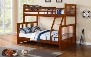 Bunk Bed - Twin over Double Mission Style Solid Wood - Honey Honey