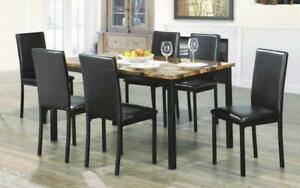 Kitchen Set with Marble Top - 5 pc or 7 pc - Brown | Black 7 pc Set / Brown | Black