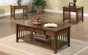 Coffee Table Set with Drawer & Shelf - 3 pc - Walnut Walnut