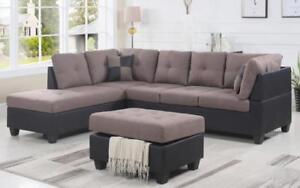 Fabric Sectional set with Chaise and Ottoman - Taupe   Black Black   Taupe