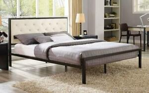 Platform Metal Bed with Fabric - Ivory Queen / Ivory / Metal & Fabric