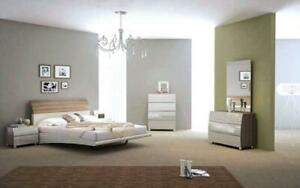 Bedroom Set with Lacquer Head Board 8 pc - Walnut & Light Grey Queen / Walnut & Light Grey