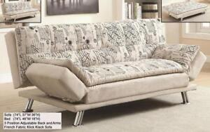 *** BRAND NEW *** HUGE SALE *** FRENCH SCRIPT FABRIC KLICK KLACK SOFA BED***LIMITED STOCK****