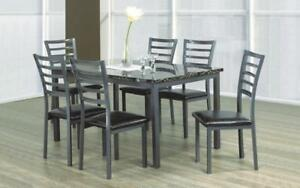 Kitchen Set with Marble Top - 5 pc or 7 pc - Black | Grey 7 pc Set / Black | Grey