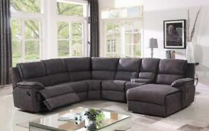 Recliner Corner Sectional - High Tech Fabric [Grey] Grey
