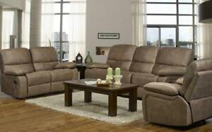 Recliner Set - 3 Piece - Air Suede Fabric [Caramel] 3 pc Set / Caramel