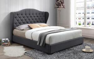 Platform Bed with Button Tufted Linen Style Fabric - Grey King / Grey / Linen Style Fabric