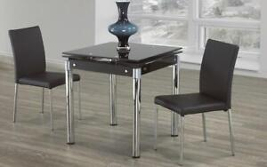 Kitchen Set with Glass Top with Extendable Leafs - 3 pc - Chrome | Black 3 pc Set / Chrome | Black