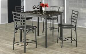 Pub Set with Chairs - 5 pc - Espresso   Grey Espresso   Grey