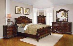 Sleigh Bedroom Set with Wood Detail 8 pc - Dark Cherry King / Dark Cherry