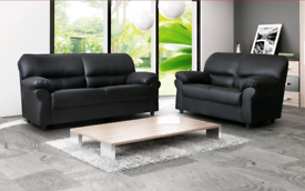 Candy Black Leather 3+2 Sofa