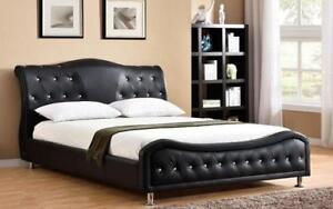 Platform Bed Bonded Leather with Jewels - Black King / Black / Bonded Leather