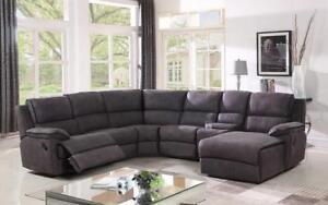 Recliner Corner Sectional - High Tech Fabric [Grey] Grey
