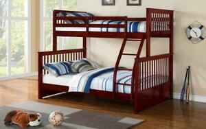 Bunk Bed - Twin over Double Mission Style Solid Wood - Cherry Cherry