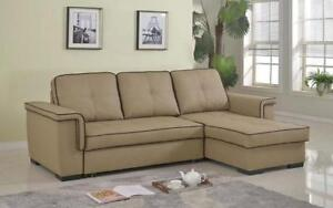 Leather Sectional Sofa Bed with Right Side Chaise - Latte Brown   Chocolate Latte Brown   Chocolate