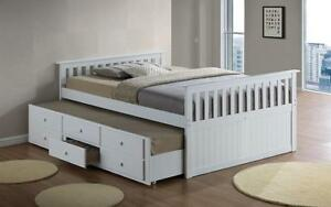 Trundle Bed with Drawers - White Bed / Double / White
